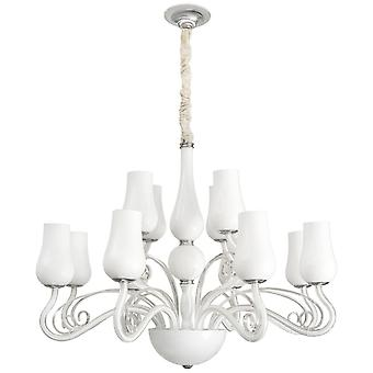Glasberg - vitt glas tolv ljus ljuskrona 483010112