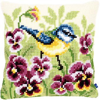 Blue Tit On Pansies Cushion Cross Stitch Kit-15.75