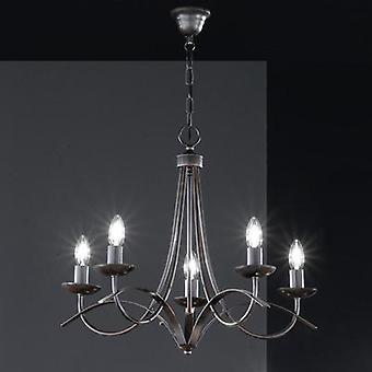 Chandelier HV halogen E14 150 W Honsel Hannes Rust (matt), Antique finish