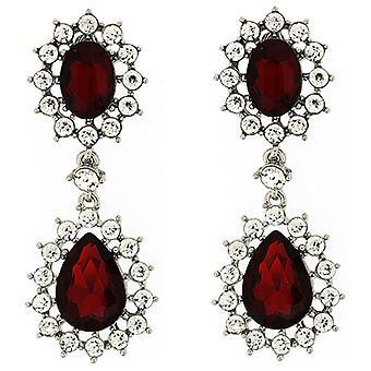 Clip auf Ohrringe Store viktorianischen Rubin Rot Crystal Doppel Drop Clip auf Ohrringe