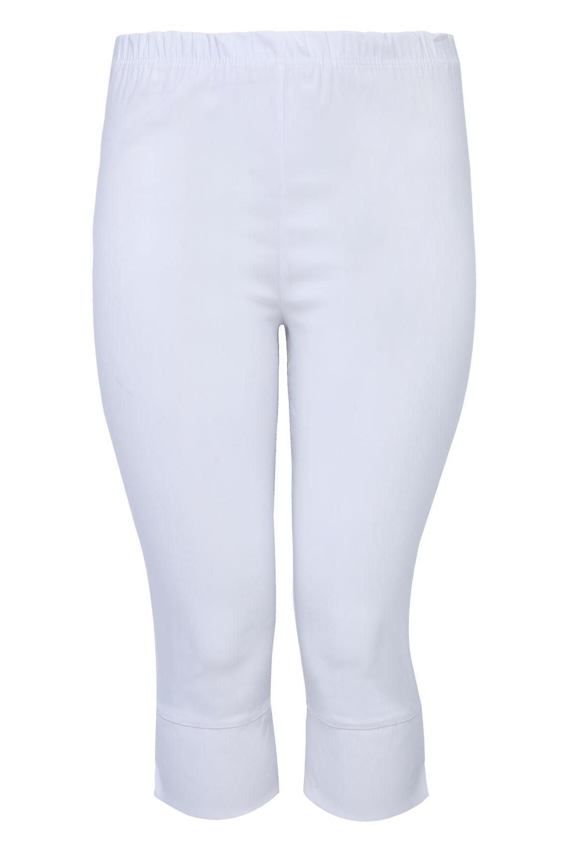 White Pull On Stretch Bengalin Cropped Trousers
