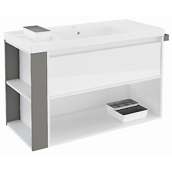 Bath+ 1 Drawer Cabinet + Shelf With Gloss White Resin Basin Grey 100cm