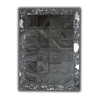 Rugs - Patchwork Leather Cubed Cowhide - Black with Acid Silver Border