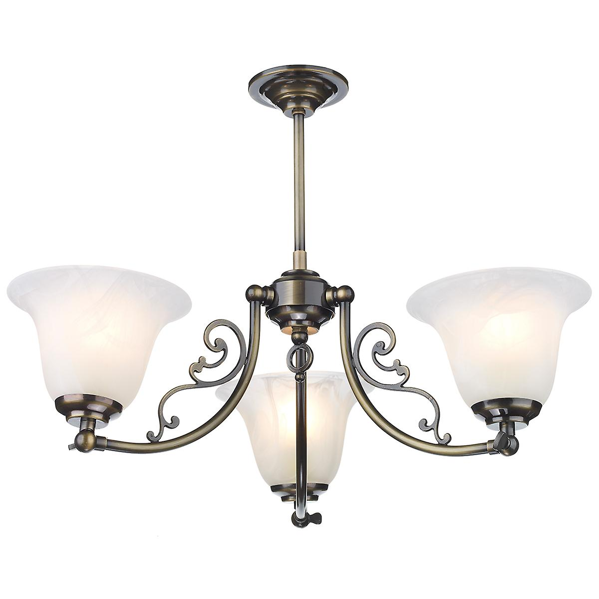 David Hunt CP30AB Campden 3 Light Pendant In An Antique Brass Finish - Pendant Only