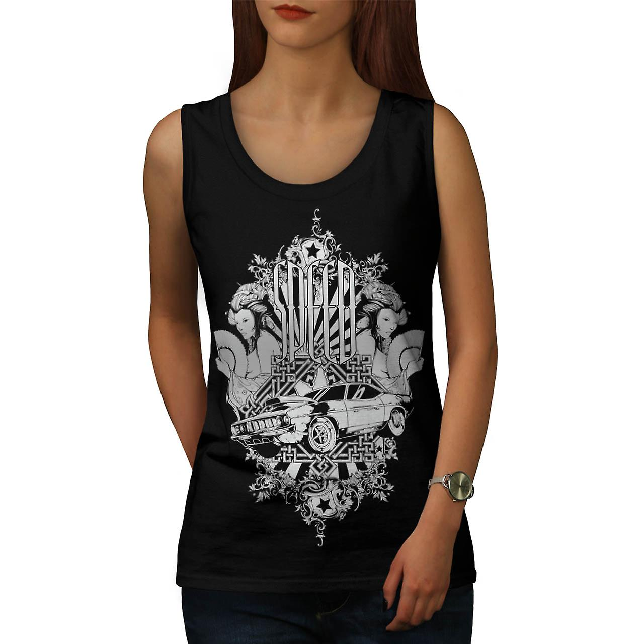 Speed Vintage Girl Car Women Black Tank Top | Wellcoda