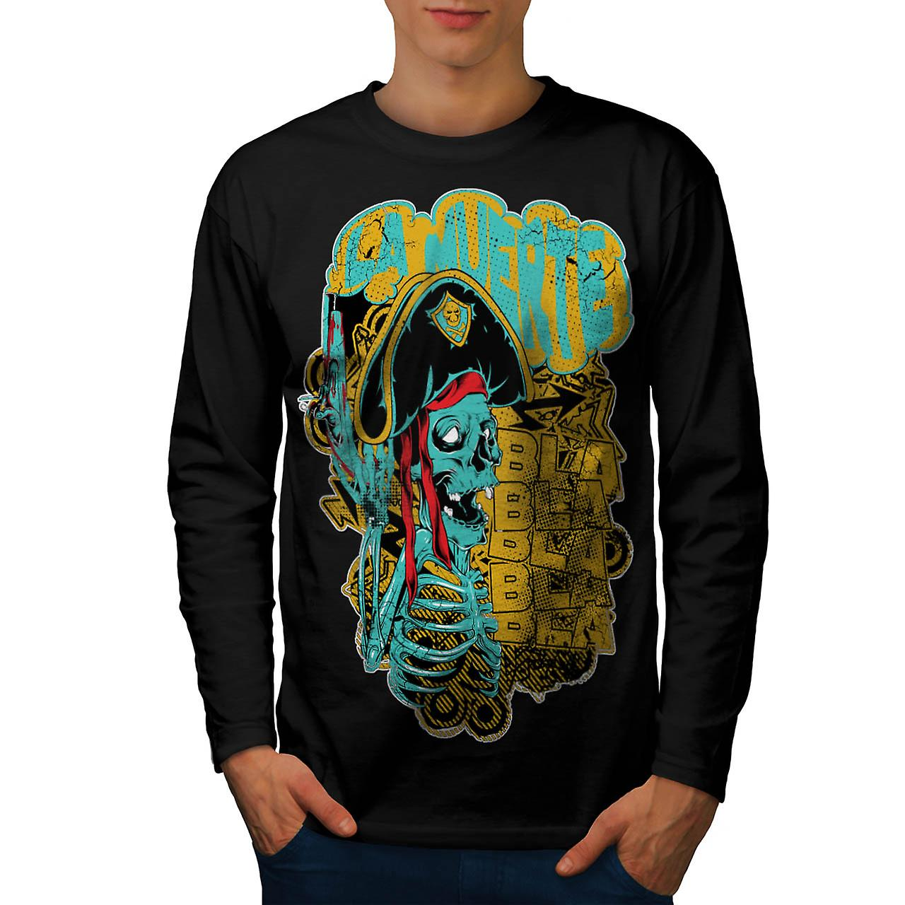 Pirate Skull Ghost Danger Talk homme noire manches longues T-shirt | Wellcoda