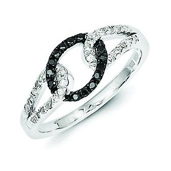 Sterling Silver Polished Gift Boxed Rhodium-plated Black and White Diamond Ring - Ring Size: 6 to 8