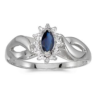 10k White Gold Marquise Sapphire And Diamond Ring