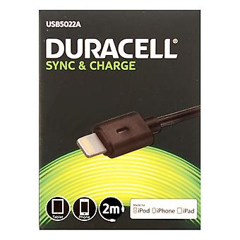 Duracell Apple Lightning Sync & Charge USB Cable - 2 Metre - Black. - USB5022A