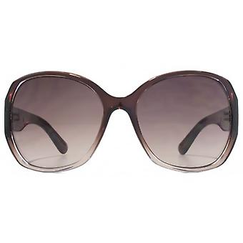 Karen Millen Metal Bar Detail Plastic Sunglasses In Brown Gradient