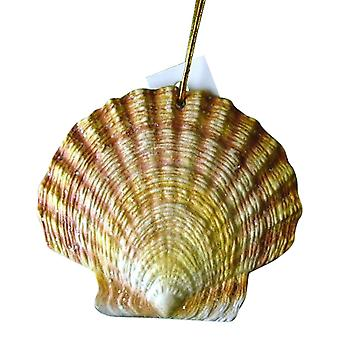 Tropical Beach Seashell julepynt gul 4 Inches ORNShell09 harpiks