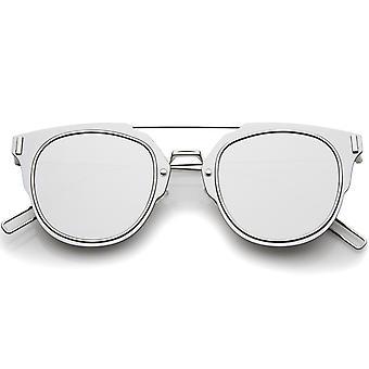 Alambre delgado Ultra mínimo interno con montura gafas de sol Pantos lente plana de espejo 58mm
