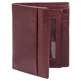 Dents Smooth Punched Leather Tall Wallet - Claret Red