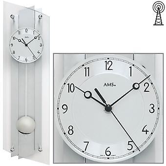 Radio controlled wall clock radio clock pendulum clock wood aluminium mineral glass 59 x 16 cm, AMS