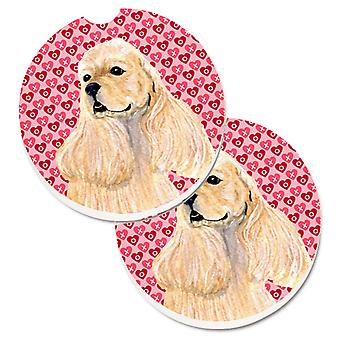 Buff Cocker Spaniel Hearts Love Valentine's Day Set of 2 Cup Holder Car Coasters
