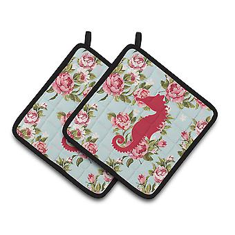 Sea Horse Shabby Chic Blue Roses   Pair of Pot Holders