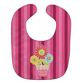 Carolines schatten BB9057BIB Flower Pot roze Baby slabbetje