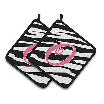 Monogram Initial O Zebra Stripe and Pink  Pair of Pot Holders