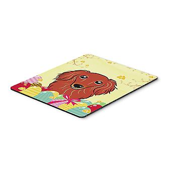 Longhair Red Dachshund Easter Egg Hunt Mouse Pad, Hot Pad or Trivet