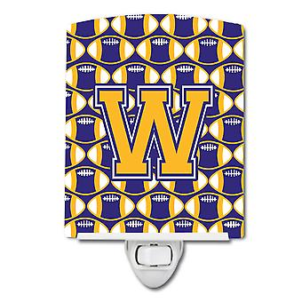 Letter W Football Purple and Gold Ceramic Night Light