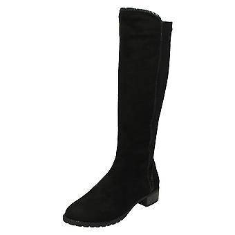 Ladies Spot On Mid Heel Calf Boots F50868