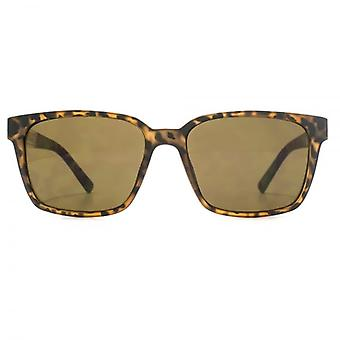 French Connection Metal Temple Insert Rectangle Sunglasses In Matte Tortoiseshell