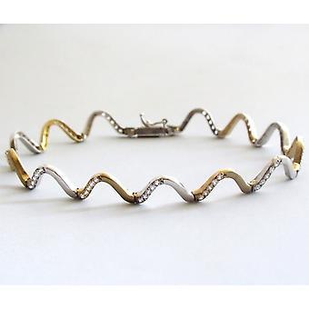 Bicolor Gold Bracelet with cubic zirconia