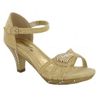 Girls Mid Stiletto Heel Ankle Strap Platform Wedding Evening Sandals Shoe