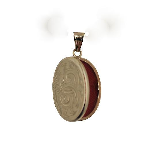 9ct guld 26x19mm platt ovalt handen graverad medaljong