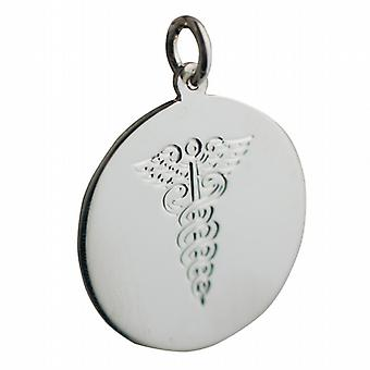 Silver 26mm round hand engraved medical alarm Disc