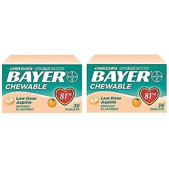 Bayer Orange aromatiseret tyggetabletter lav dosis Aspirin smerte Reliever 2 Box Pack