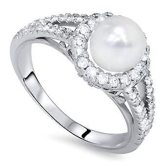 Diamante pérola Halo anel 14K ouro branco
