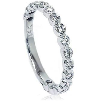 1 / 2ct Bezel stapelbare Diamond Ring 14K White Gold