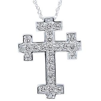 1 / 2ct diamante Cruz pendiente 14K oro blanco 3/4