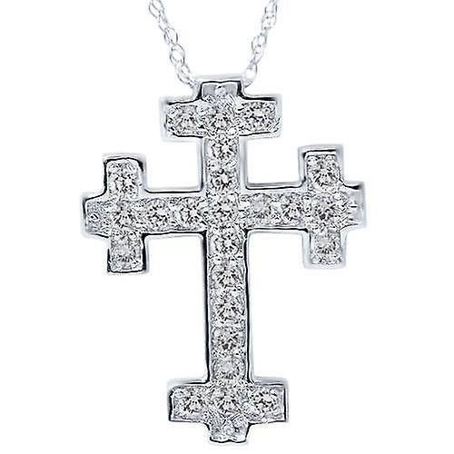 1 2ct Diamond Cross Pendant 14K blanc or 3 4& 034; Tall