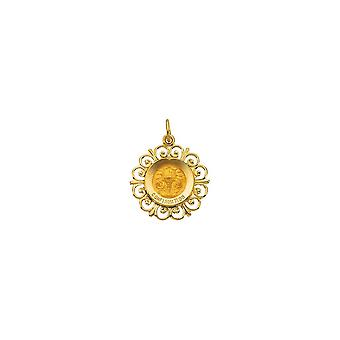 14k Yellow Gold Round Confirmation Pendant Medal 18.5 - 1.4 Grams