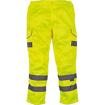 Yoko Mens High Vis Cargo Trousers With Knee Pad Pockets