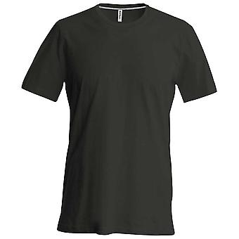 Kariban Mens Slim Fit Short Sleeve Crew Neck Plain Colours Cotton T-Shirt