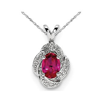 Lab Created Ruby Drop Pendant Necklace in Sterling Silver with Chain