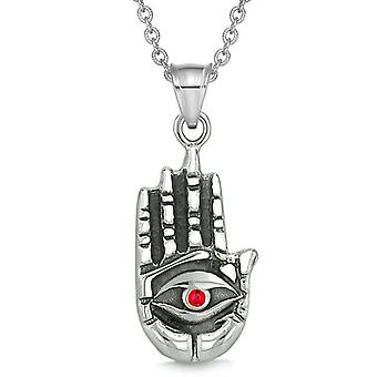 All Seeing Feeling Buddha Eye Hamsa Magic Powers Amulet Red Crystal Pendant Necklace