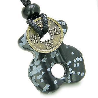 Infinity magiske kræfter keltiske knude Lucky Coin onde øjne beskyttelse Amulet snefnug Obsidian halskæde