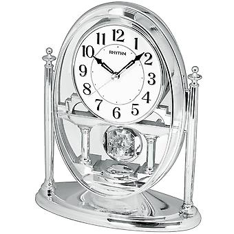 Table clock quartz desk clock with pendulum rhythm housing silver