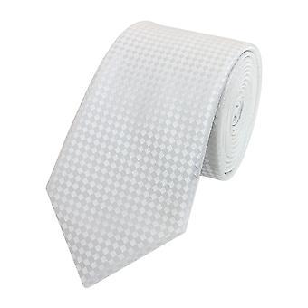 Schlips Krawatte Krawatten Binder Schmal 6cm Weiß kariert Fabio Farini