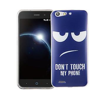 Mobile sag til ZTE blade L6 dækning case beskyttende taske motiv slim TPU + rustning beskyttelse glas 9 H ikke røre min telefon Blau