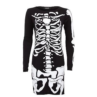 Vestido corto damas manga larga cráneo hueso esqueleto Bodycon impresión de las mujeres