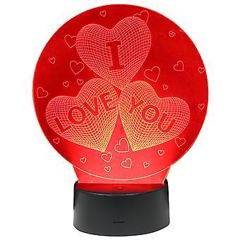 TRIXES Multicolour LED 3D Illusion Love Hearts Touch Sensitive Night Light