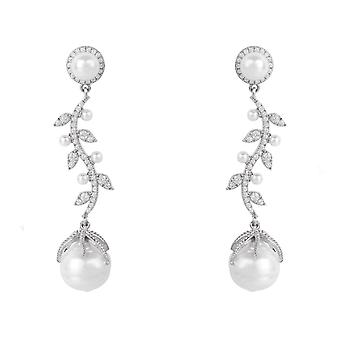 Large Statement Drop Baroque Natural Pearl 925 silver CZ Earrings Bridal Flower