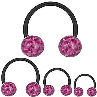 Circular Barbell Hufeisen Black Titan 1,6 mm, Multi Kristall Kugel Pink | 8-16
