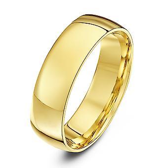 Star Wedding Rings 9ct Yellow Gold Light Court Shape 6mm Wedding Ring
