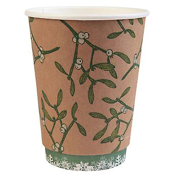 Double Wall Christmas Cups with Mistletoe Design 12oz